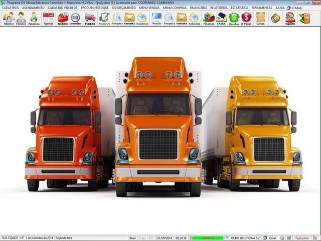 Programa os oficina mecânica caminhão com check list