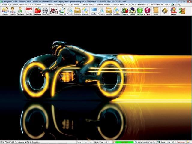 Programa os oficina mecânica moto com check list vendas