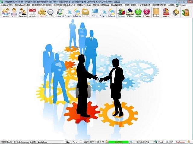 Programa os serviços gerais com vendas financeiro
