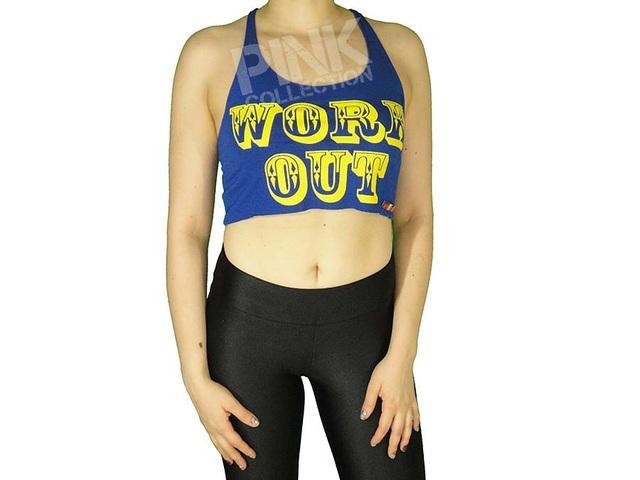 Top feminino viscolycra workout azul | amarelo