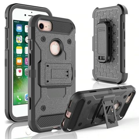 Capa case anti impacto iphone + suporte saque rápido
