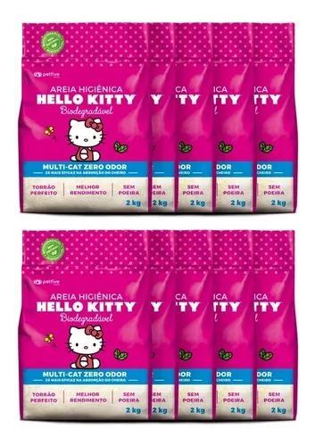 Areia higiênica hello kitty bio fina rosa p/ gatos kit 20kg