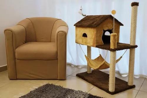 Arranhador casa savana para gatos arranha pelúcia e sisal