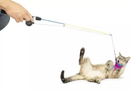 Brinquedo varinha de pesca gatinho com isca para gatos cat
