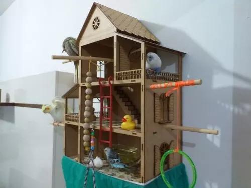 Casinha casa de periquito calopsita agapornis completa linda