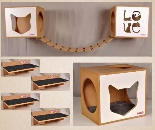 Kit 02 nichos gatos almofada +ponte+04 prat frente branca
