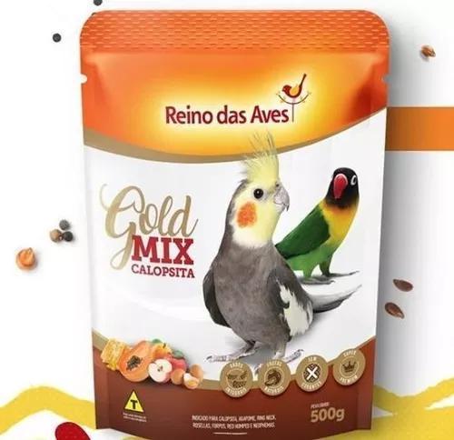 Kit 15 ração calopsita gold mix 500gr - reino das aves