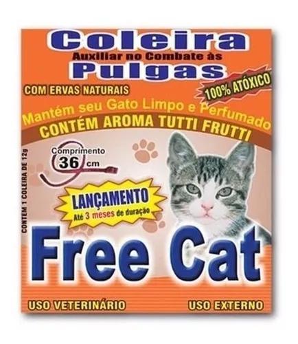 Kit 6 coleiras anti pulgas free cat 36cm para gatos