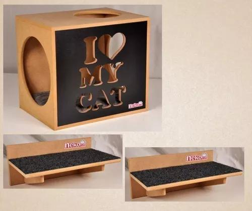 Kit nicho gatos c/almofada + 2 prateleiras arranh.c/carpete
