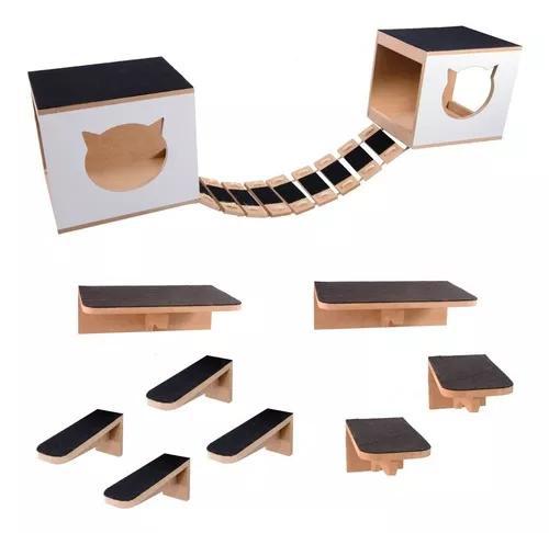 Kit play nicho gatos escada,ponte,prateleira,toca 11 pcs mdf