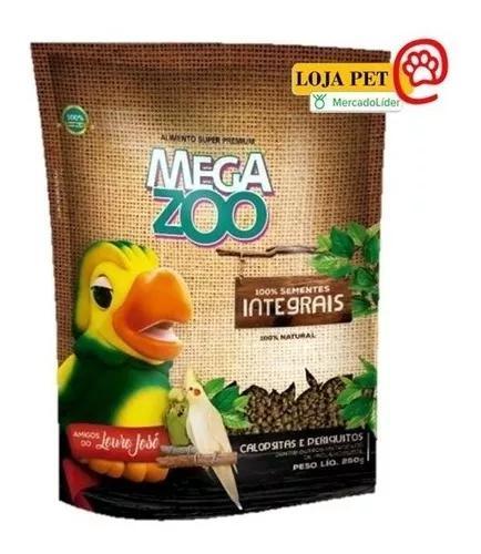 Mega zoo calopsitas e periquitos extrusado 350g