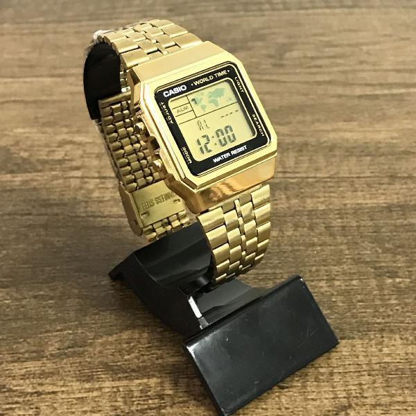 Relógio casio a500 retrô dourado lançamento- oferta