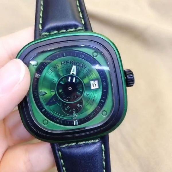 Relógio sevenfriday verde top 100% premium funcional
