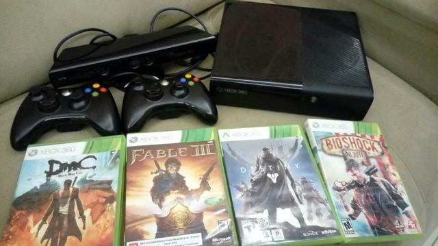 Xbox 360 42 jogos 2 controles sem fio e aparelho kinect