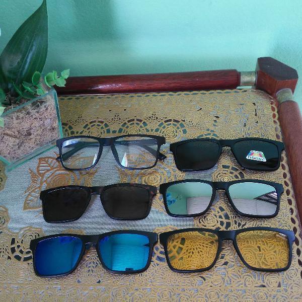 Armação para óculos clip on 6 em 1