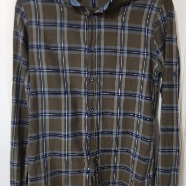 Camisa alfaiataria xadrez manga comprida 100 %algodão usada