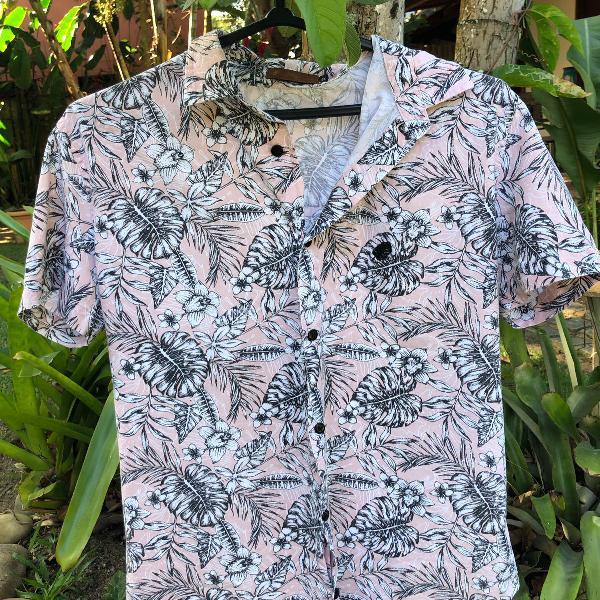 Camisa floral masculina rosa tropicus