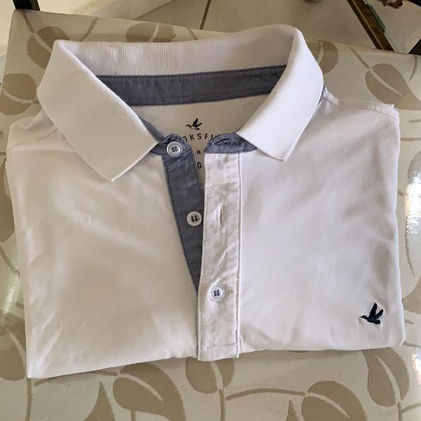 Camisa polo branca, masculina,