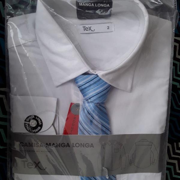 Camisa social manga longa acompanha gravata