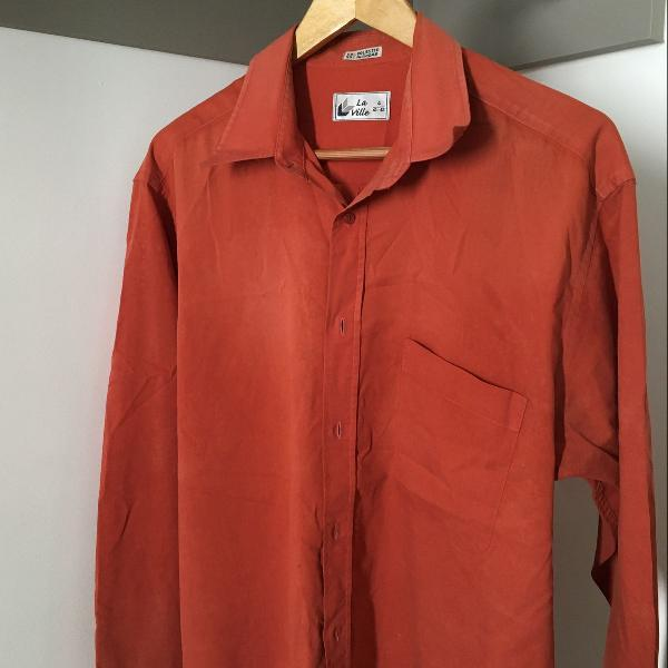 Camisa social vintage vermelha, la ville