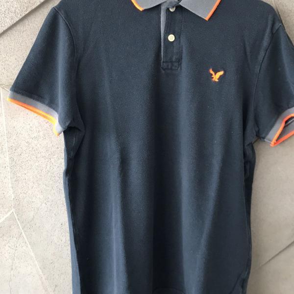 Camiseta polo masculina azul marinho american eagle