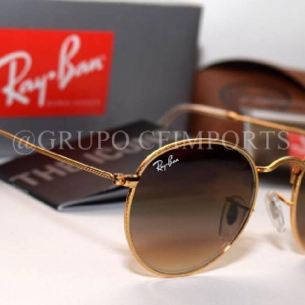 Culos ray ban rb3447 round redondo marrom masculino metal