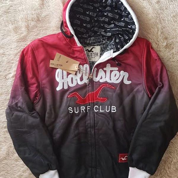 Jaqueta hollister vermelha e preta degradê tam gg e g