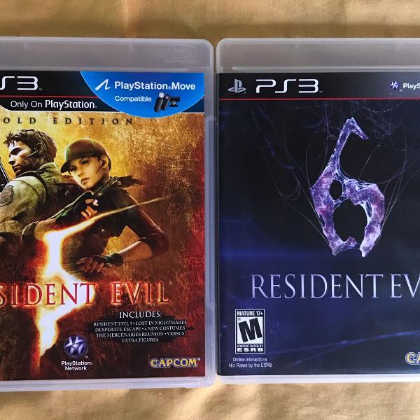 Jogo resident evil 5: gold edition + resident evil 6 para