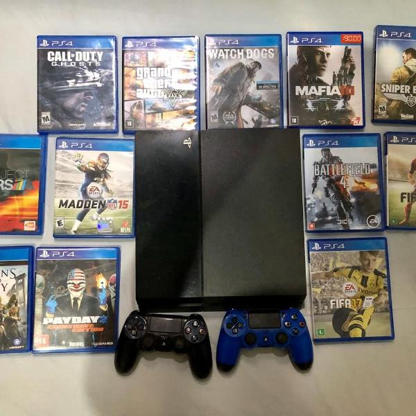 Playstation 4 + 2 controles + 12 jogos