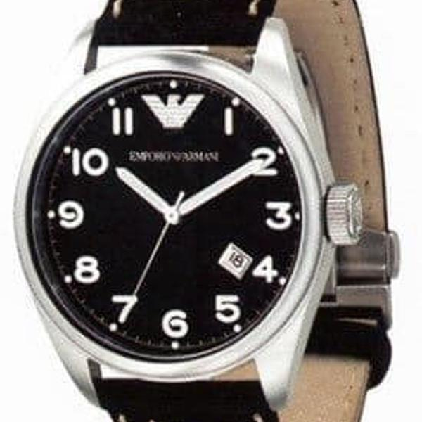 R$ 950 emporio armani ar-506 preto pulseira de couro