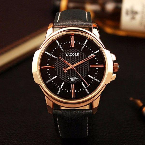 Relógio masculino analógico couro relógio de luxo yazole