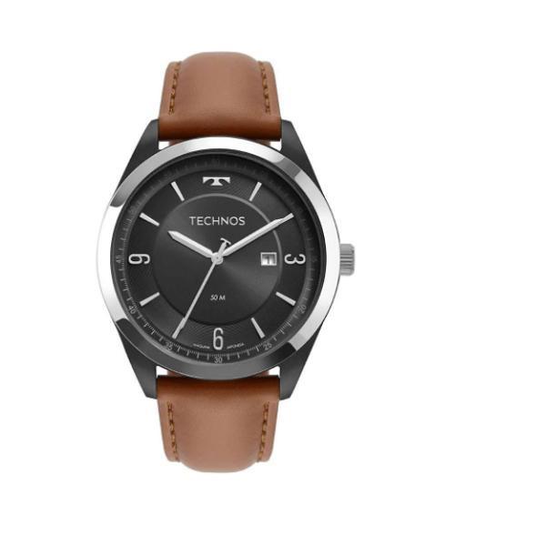 Relógio technos masculino marrom couro analógico 6p