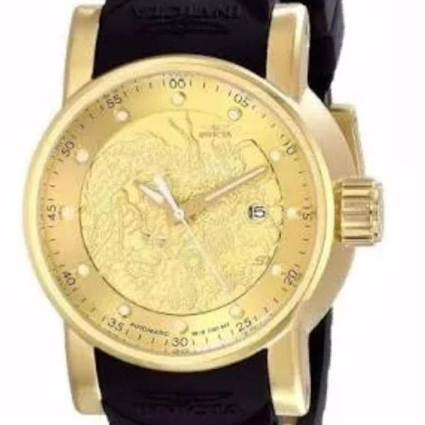 Relógio yakuza automático preto caixa dourado promoção