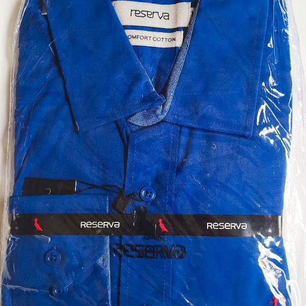 Reserva camisa algodão masculina social passa fácil azul