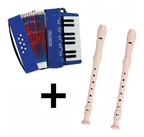 Kit acordeon sanfona + 2 flautas doces presente dia