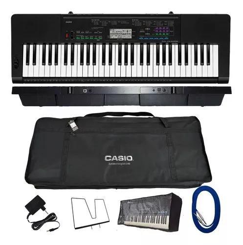 Kit teclado casio ctk3400 arranjador musical 5/8 acessórios