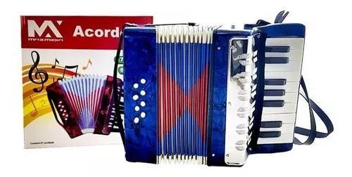 Sanfona acordeon infantil 17 teclas e 8 baixos