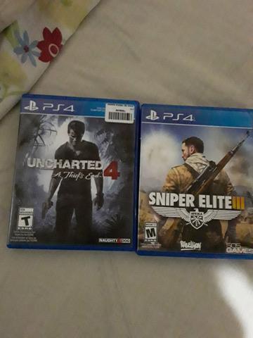 Vendo jogo de ps4 uncharted 4 e sniper elite 3 ou troco r$60