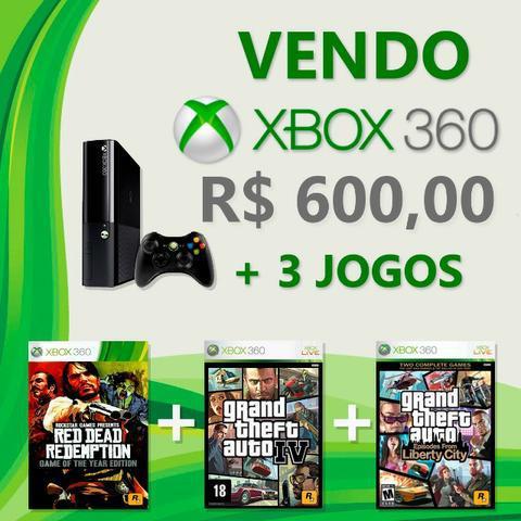 Xbox 360 super slim + 3 jogos grátis