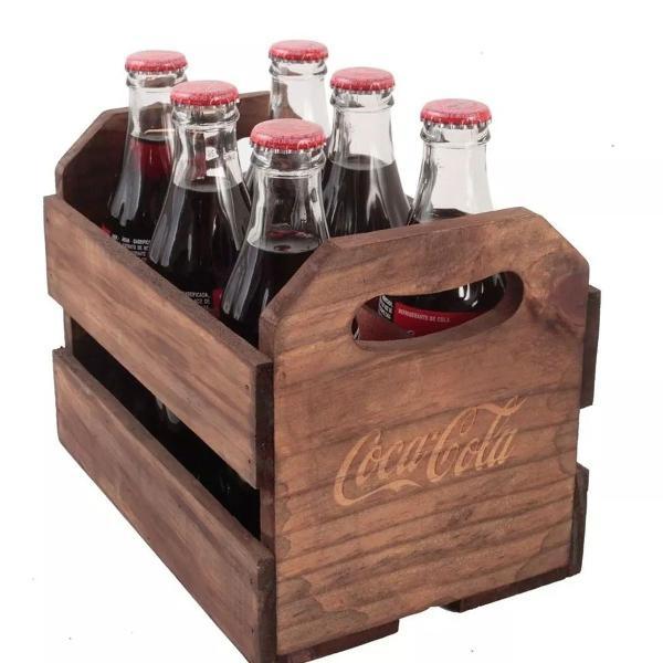 Expositor de coleção coca cola para 6 garrafas - caixa