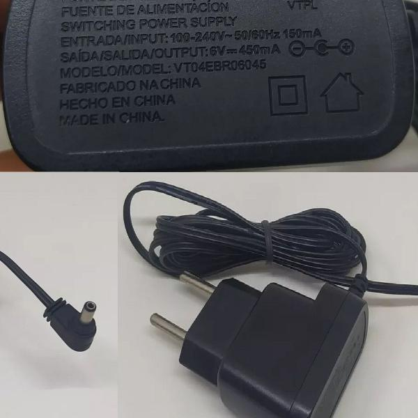 Fonte 6v-450ma para telefone s/ fio motorola/vtech