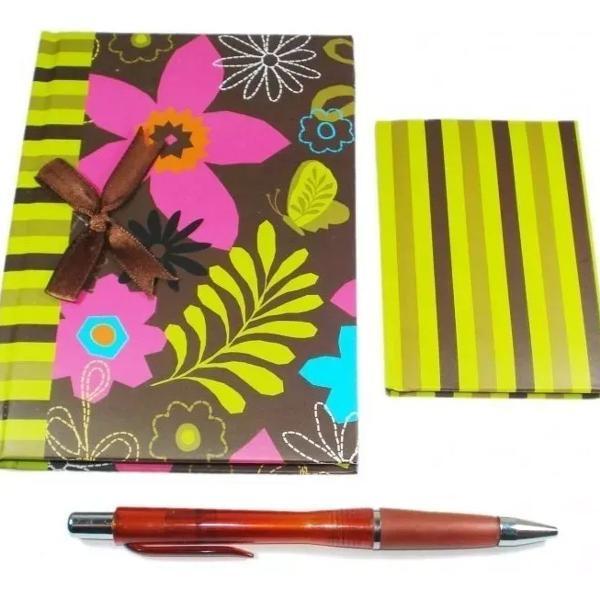 Kit 10 unidades caderno anotações, caneta e agenda