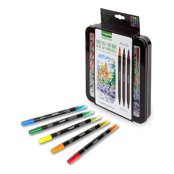 Kit canetas crayola brushpen pincel extra fina 2 pontas 16un