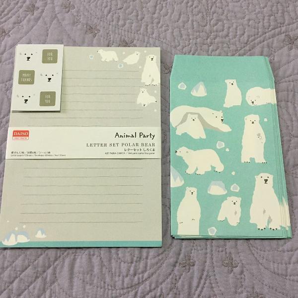 Kit de papel de carta urso polar - 12 folhas, 6 envelopes e