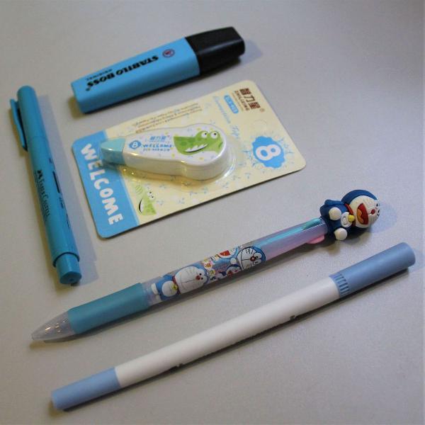 Kit de papelaria azul - cinco itens