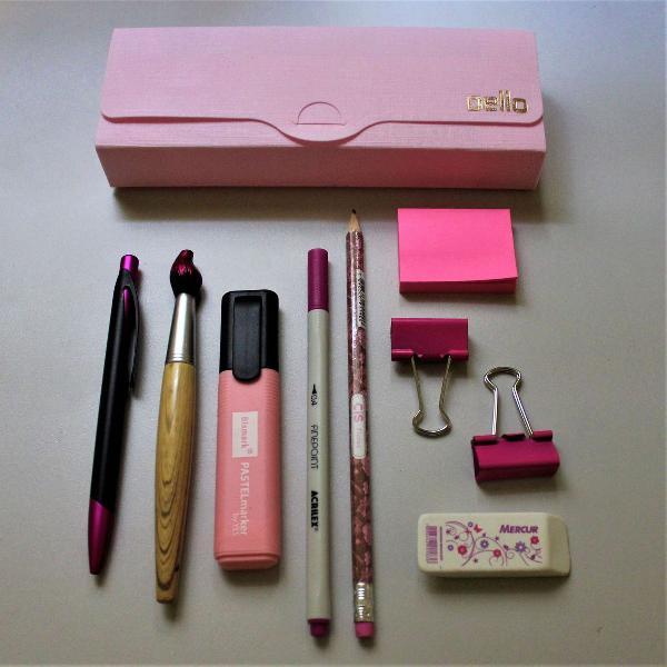 Kit de papelaria rosa - 10 itens