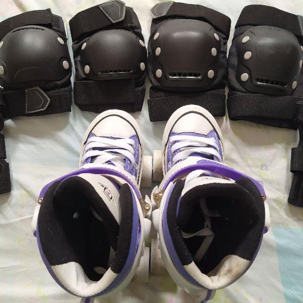 Kit proteção m + patins semi novo 33 ao 36 roxo bel