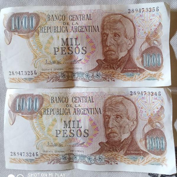 Notas antigas cédulas novas da argentina