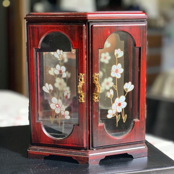 Porta jóias e acessórios vintage/retrô madeira maciça