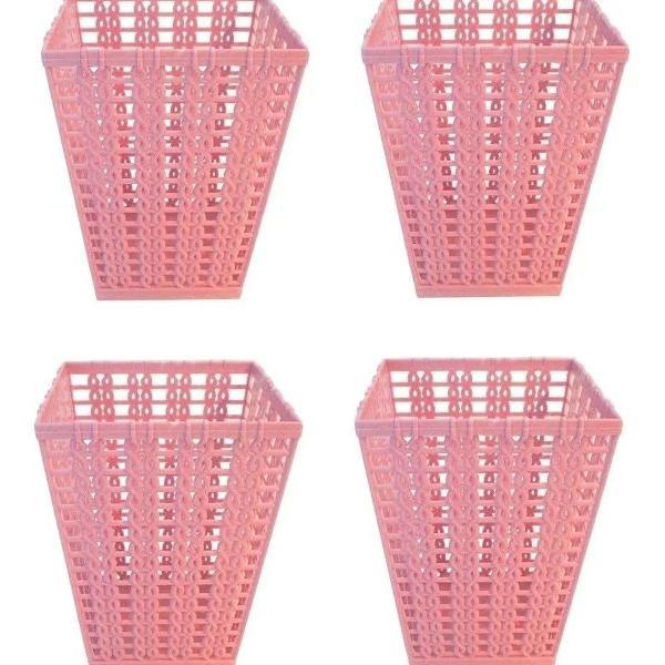 Porta lápis/caneta/treco trançado plástico rosa rattan 4